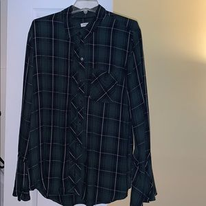 Green and black plaid shirt with bell sleeves